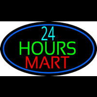 24 Hours Mini Mart With Blue Round Leuchtreklame