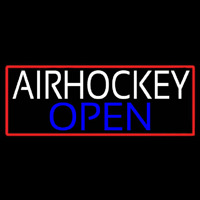 Air Hockey Open With Red Border Real Neon Glass Tube Leuchtreklame