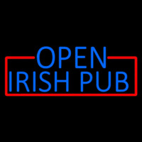 Blue Open Irish Pub With Red Border Leuchtreklame