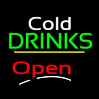 Cold Drinks Open Yellow Line Leuchtreklame