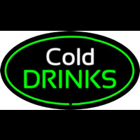 Cold Drinks Oval Green Leuchtreklame