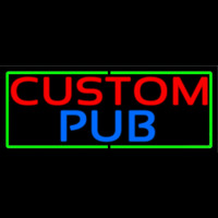 Custom Pub With Green Border Leuchtreklame