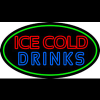 Double Stroke Ice Cold Drinks Leuchtreklame
