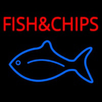 Fish And Chips With Fish Logo  Leuchtreklame