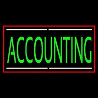 Green Accounting With Red Border Leuchtreklame