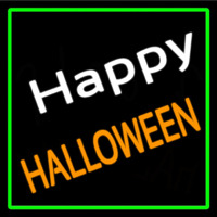 Happy Halloween With Green Border Leuchtreklame