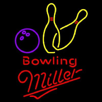 Miller Bowling Yellow Beer Sign Leuchtreklame