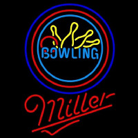 Miller Bowling Yellow Blue Beer Sign Leuchtreklame