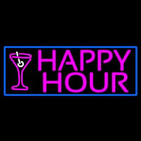 Pink Happy Hour And Wine Glass With Blue Border Leuchtreklame