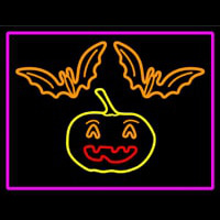 Pumpkin And Bats With Pink Border Leuchtreklame