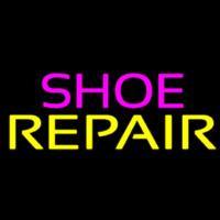 Purple Shoe Yellow Repair Leuchtreklame