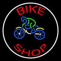 Red Bike Shop With Logo Leuchtreklame