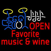 Red Open Music Fovorite Music And Wine Leuchtreklame