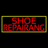 Red Shoe Repairing With Border Leuchtreklame