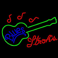 Strohs Blues Guitar Beer Sign Leuchtreklame