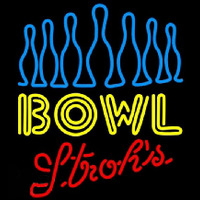 Strohs Ten Pin Bowling Beer Sign Leuchtreklame