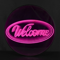 Welcome 3D Infinity LED Neon Sign