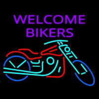 Welcome Bikers With Bike Leuchtreklame
