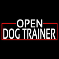 White Open Dog Trainer With Red Border Leuchtreklame
