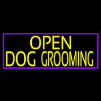 Yellow Open Dog Grooming With Purple Border Leuchtreklame