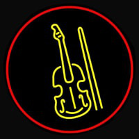 Yellow Violin Logo Red Border Leuchtreklame