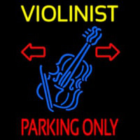 Yellow Violinist Red Parking Only Leuchtreklame